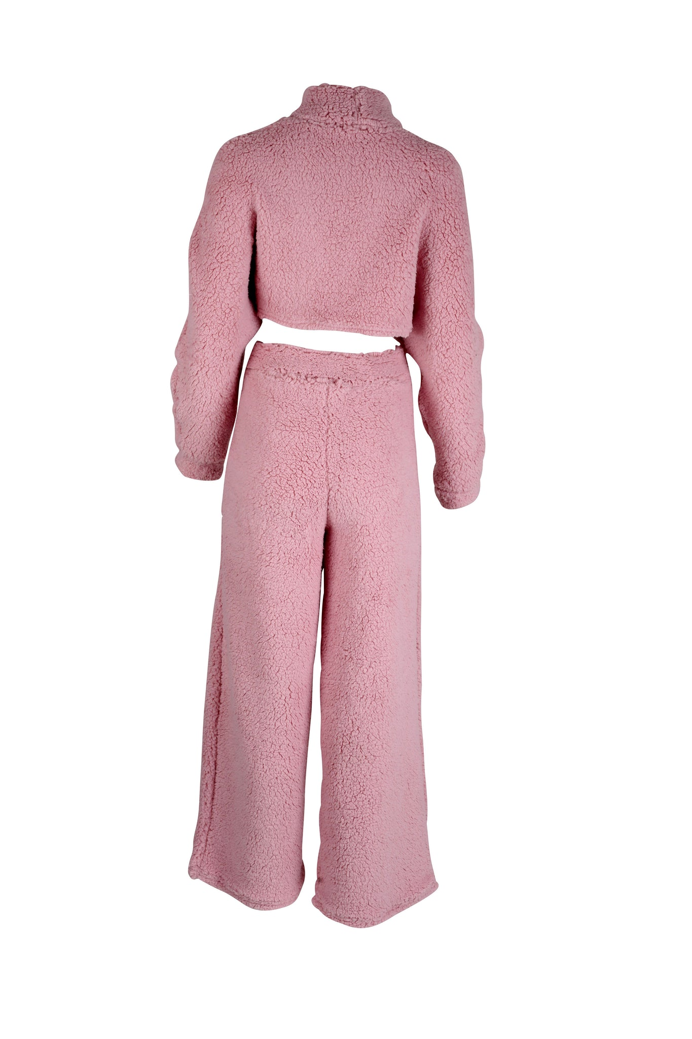 A ladies loungewear top and bottom set in a pink colour