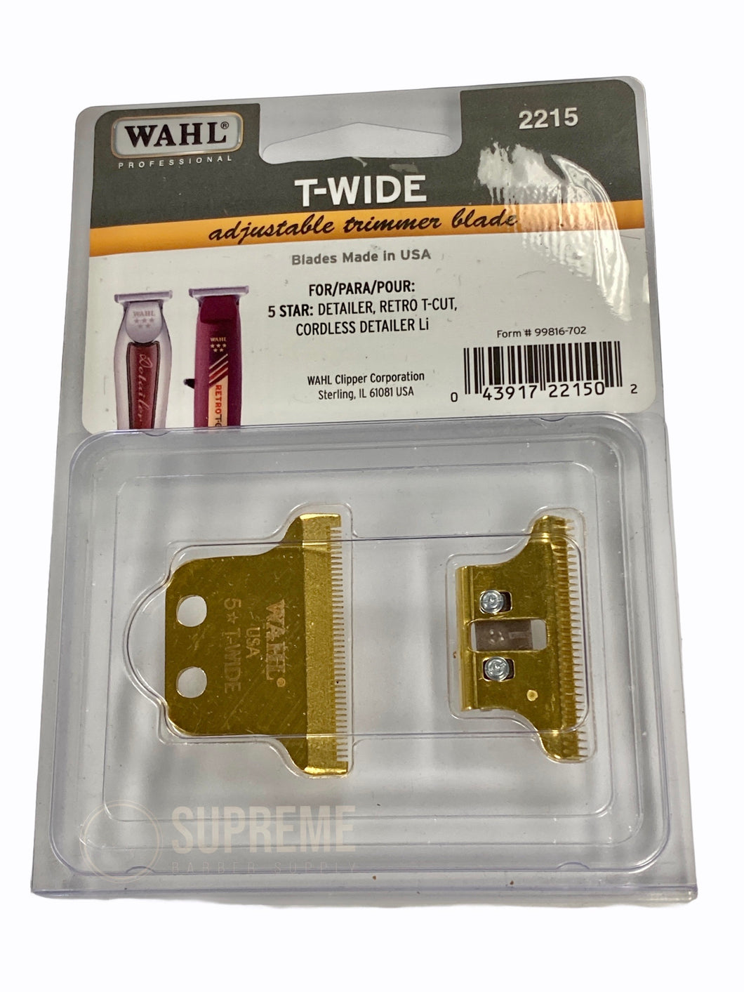 Gold Plated Wahl T-Wide Blade