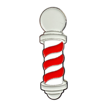 Load image into Gallery viewer, Barber's Pole Pin (Red/White/Silver)