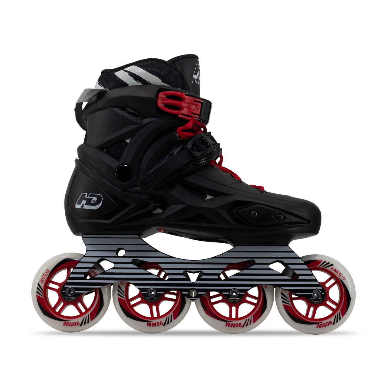 Patins HD Inline X 2021 Preto Red 90mm com base hibrida 110mm Lançamento