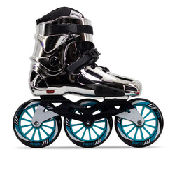 Patins Roller HD Inline Chrome Profissional base 125mm 82a Abec-7 Azul