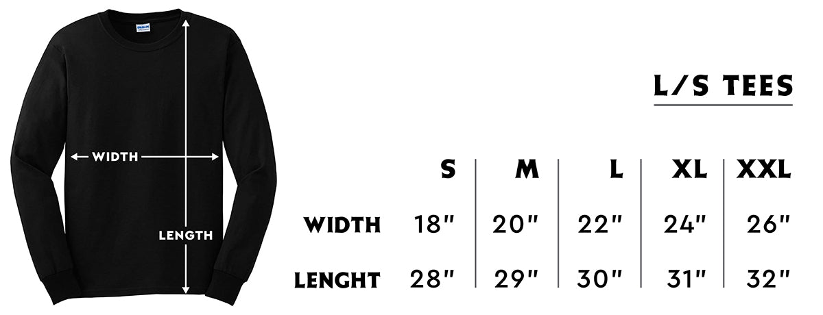 LS Tee Size Guide