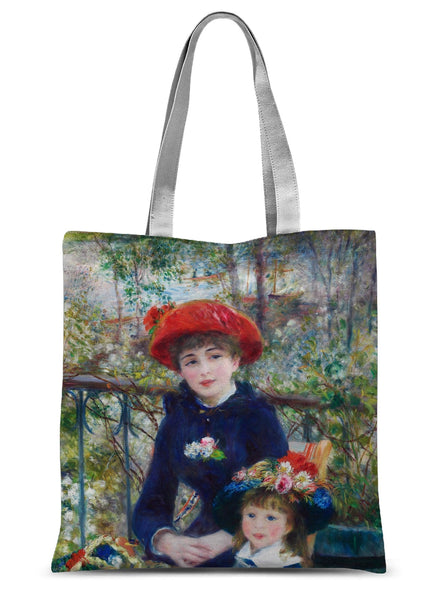 Two Sisters (On the Terrace) (1881) by Pierre-Auguste Renoir. Sublimation Tote Bag