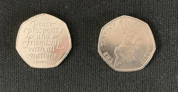 Two rare 50 pence Coins incl 2020 Peace Prosperity And Friendship With all nations