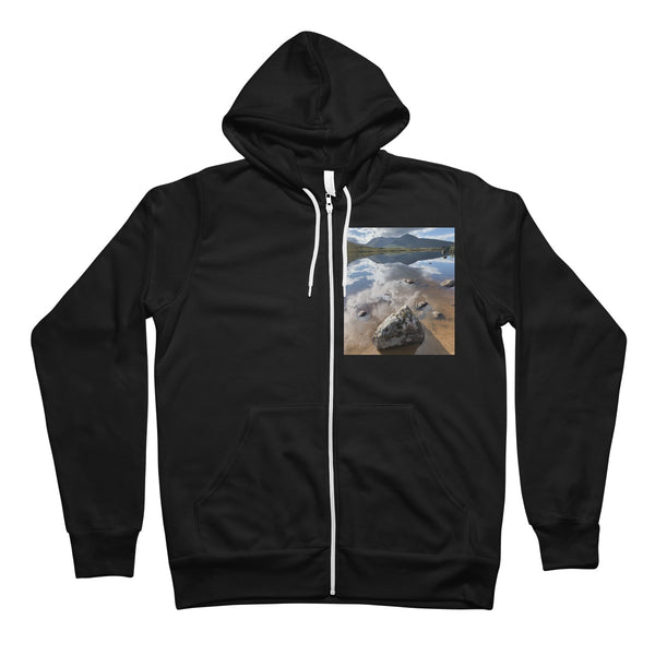 Lochan na - h Achlaise and The Black Mount Unisex Full Zip Hoodie