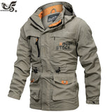 Men Tactical Jacket Autumn Quick Dry Military Style Army Coat Male Multi Pockets Hooded Windbreaker Waterproof jacket size M~6XL