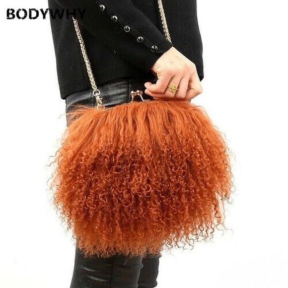 100% Real Long Lamb Fur/mongolian Fur Super Soft Crossbody Bag Handbag (multi Colors) Female Ladies Elegant Princess Beach Bag