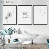 Dandelion Wall Art Canvas Painting Make Wish Dandelion Poster Prints Nordic Style Minimalist Living Room Bedroom Nursery Decor