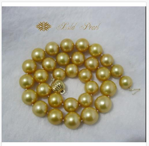 gorgeous 13-16mm south sea round gold pearl necklace 18inch 14