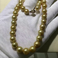 gorgeous huge 13-16mm round south sea gold pearl necklace 18inch 14