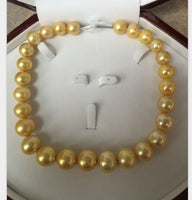 gorgeous huge 14-15mm south sea natural gold pearl necklace 17.5inch 14