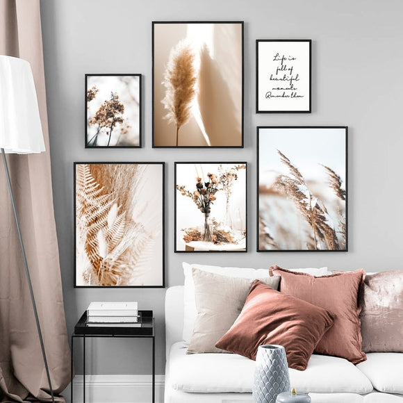 Wall Art Canvas Painting Beige Reed Dried Flower Plants Nordic Posters And Prints Landscape Wall Pictures For Living Room Decor