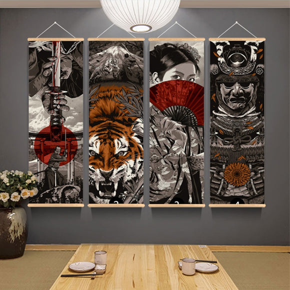 30x90cm Retro Japanese Ukiyoe Anime Canvas Poster With Wood Frame Hanger Print Pictures Wall Art Scroll Painting Room Decoration