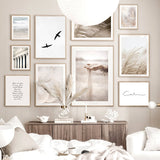 Sand Falling Reeds Mushroom Birds Calm Beach Nordic Poster Wall Art Print Canvas Painting Decoration Pictures For Living Room