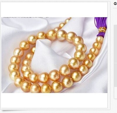 huge 13-12mm south sea round gold pearl necklace 18inch >Selling jewerly free shipping