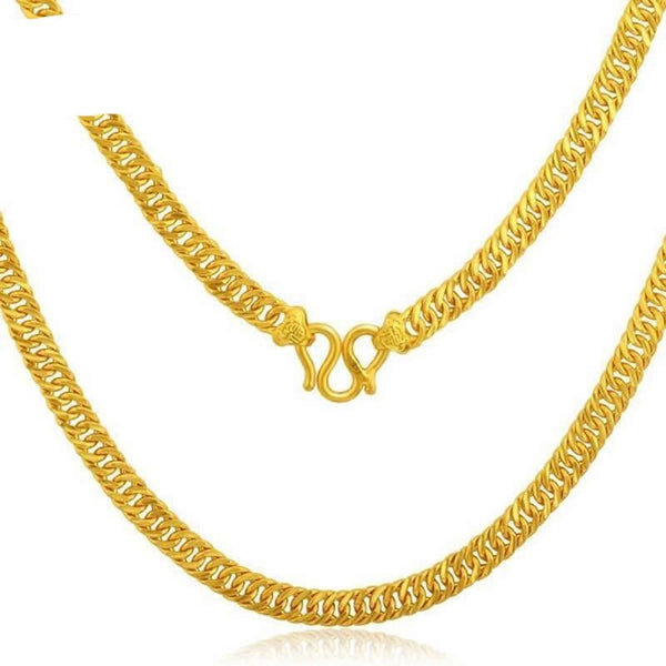 Pure 24K Yellow Gold Horsewhip Necklace/ 999 Gold luxury Domineering perfect Necklace