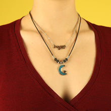 Load image into Gallery viewer, Deadstock 90s Sky Blue Crescent Moon Charm Necklace