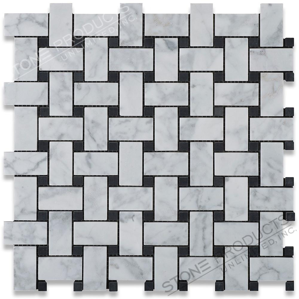 Carrara White Basketweave Mosaic