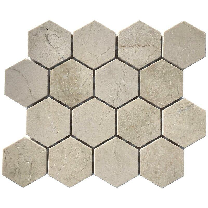 Crema Marfil Hexagon Mosaic