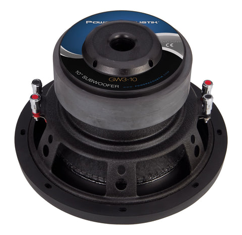 "Power Acoustik GW3-10, 10"" Dual 2 Ohm Twisted Woven Flax Fiber Cone Subwoofer - 2200W"