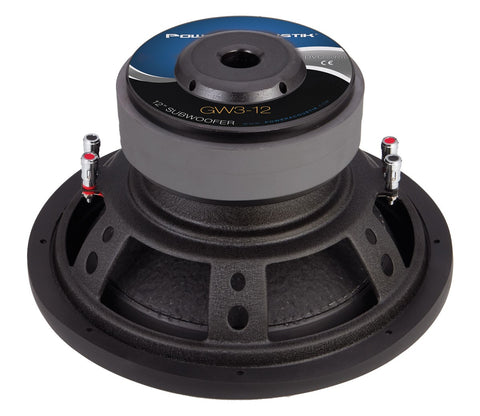 "Power Acoustik GW3-12, 12"" Dual 2 Ohm Twisted Woven Flax Fiber Cone Subwoofer - 2500W"
