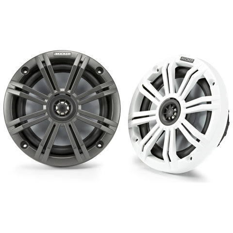 "Kicker KM654, KM 6.5"" Marine Coaxial Speakers w/ 3/4"" (20mm) Tweeters, 4-Ohm, Charcoal and White Grilles (45KM654)"