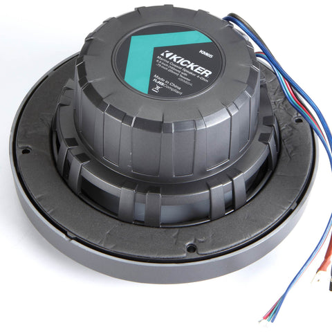 "Kicker KM654L, KM 6.5"" Marine Coaxial Speakers w/ 3/4"" (20mm) Tweeters, LED, 4-Ohm, Charcoal and White Grilles (45KM654L)"
