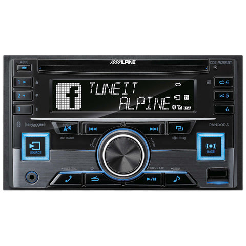 Alpine CDE-W265BT, Double DIN CD Car Stereo w/ Bluetooth, USB & Auxiliary Input
