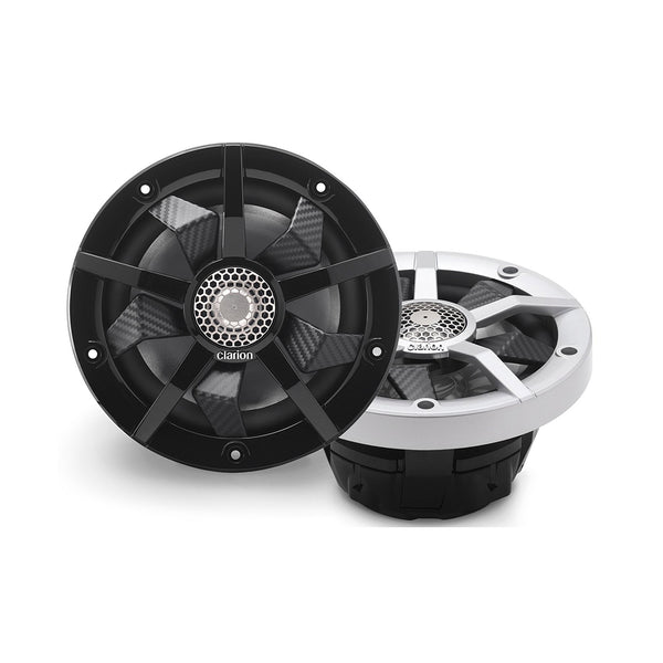 "Clarion CM1623RL, 6.5"" 2-way Marine Speakers w/ RGB illumination Includes Black & Silver Grilles"