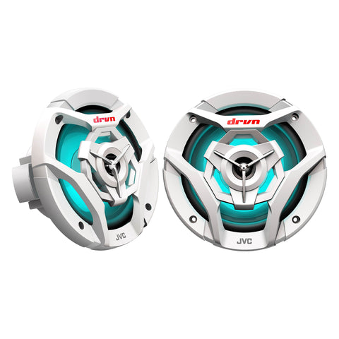 "JVC CS-DR621MWL, Marine/MotorSports 6.5"" Coaxial Speakers w/ LED Lights - 150 Watts (White)"