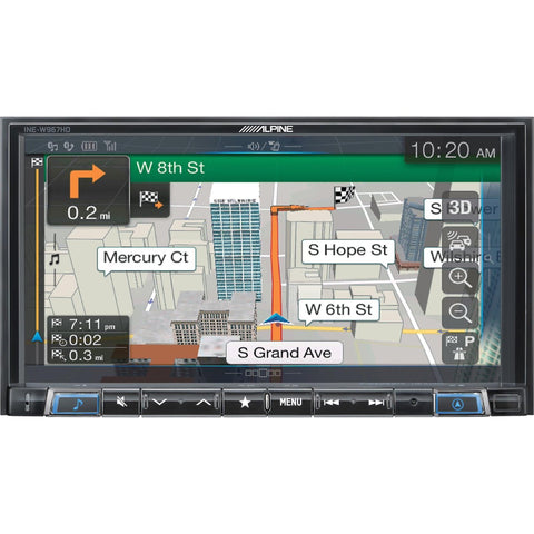"Alpine INE-W967HD, Double-Din Car Mech-Less Digital Media Receiver with 7"" Screen and GPS Navigation (Does Not Play CDs)"