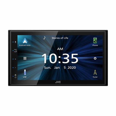 "JVC KW-M56BT, 6.8"" Double-DIN In-Dash All-Digital Multimedia Receiver with Bluetooth, Apple CarPlay, Android Auto, and SiriusXM Ready"