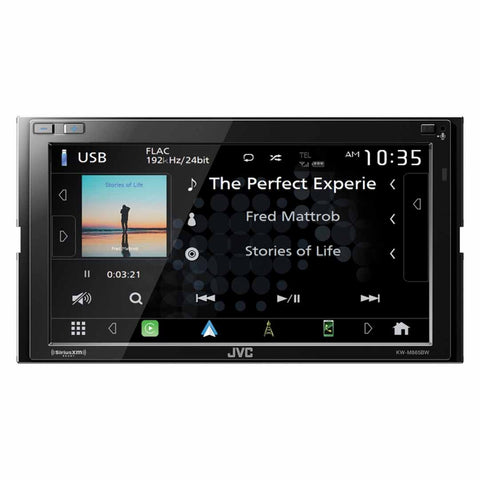 "JVC KW-M865BW, 6.8"" Double-DIN In-Dash All-Digital Media Receiver with Bluetooth, Apple CarPlay, Android Auto, and SiriusXM Ready"