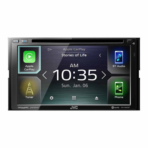 "JVC KW-V850BT, 6.8"" Double-DIN In-Dash DVD Receiver with Bluetooth, Apple CarPlay, Android Auto, and SiriusXM Ready"