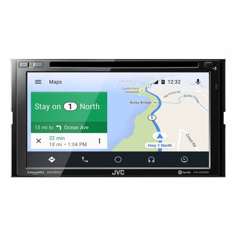 "JVC KW-V950BW, 6.8"" Double-DIN In-Dash DVD Receiver with Bluetooth, Apple CarPlay, Android Auto, and SiriusXM Ready"