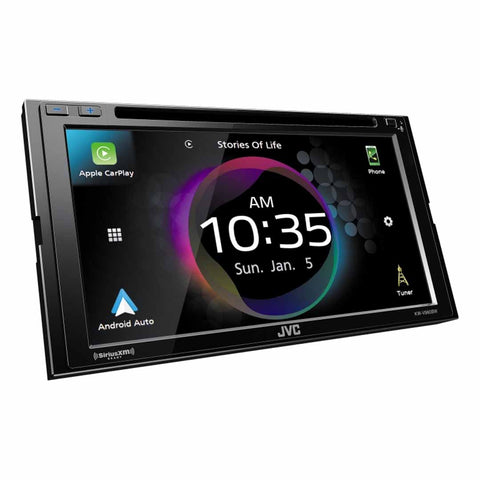 "JVC KW-V960BW, 6.8"" Double-DIN In-Dash DVD Receiver with Bluetooth, Apple CarPlay, Android Auto, and SiriusXM Ready"