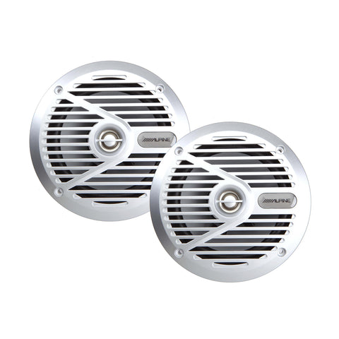 "Alpine SPS-M601, S Series Marine 6"" 2-Way Coaxial Speaker, 110 Watts Peak Power (Silver Grille)"