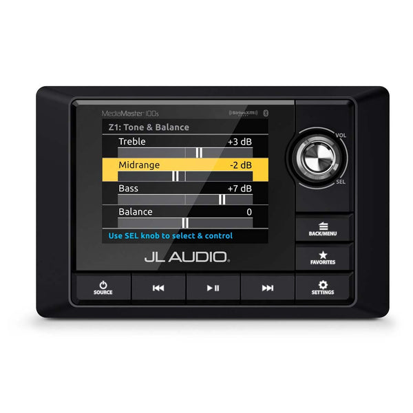 JL Audio MM100s-BE, MediaMaster Full-featured Weatherproof Marine Source Unit with Full Color LCD Display