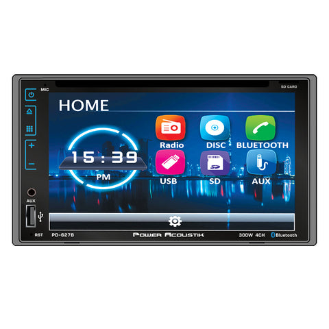 "Power Acoustik PD-627B, 2-DIN Incite Source Unit w/ Bluetooth & Capacitive Tou Channel 6.2"" LCD"