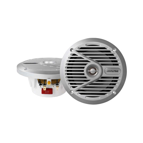 "Alpine SPS-M601W, S Series Marine 6"" 2-Way Coaxial Speaker, 110 Watts Peak Power (White Grille)"