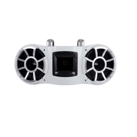 "Wet Sounds REV 410 W-FCSA, REV 410 Dual 10"" Tower Speakers with Fixed Silver Aluminum Mount Hardware - 800W"