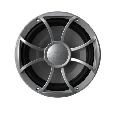"Wet Sounds RECON 10-S, Recon Subwoofer 10"" XS Silver Grill Gun Metal Cone-open Grille  4-Ohm Subwoofer - Silver"