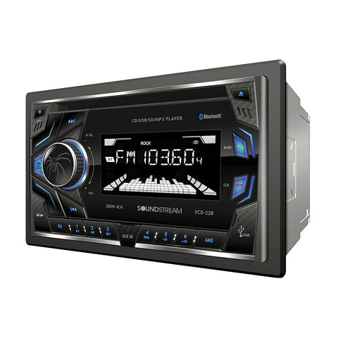 Soundstream VCD-22B, 2-DIN CD/MP3 Head Unit w/ 32GB USB, SD, AUX, & Bluetooth