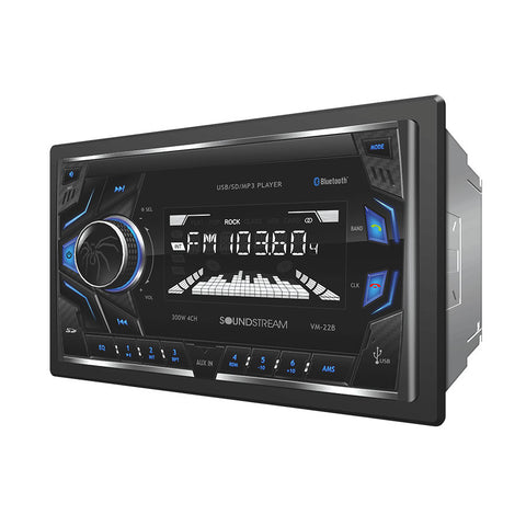 Soundstream VM-22B, 2-DIN Digital Audio Head Unit w/ 32GB USB, SD, AUX, & Bluetooth