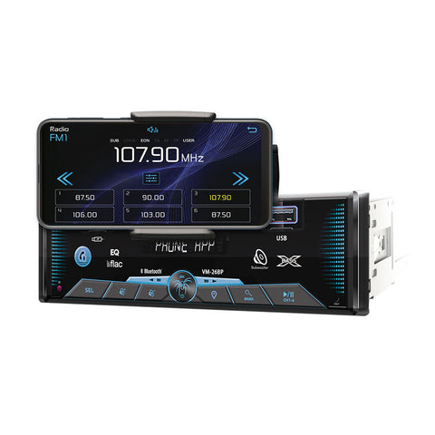 Soundstream VM-26BP, 1-DIN Digital Audio Head Unit, USB/SD, Bluetooth, Phone Holder w/APP