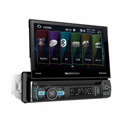 "Soundstream VR-75B, 1-DIN AptiX Source Unit w/ Bluetooth, & 7"" LCD"