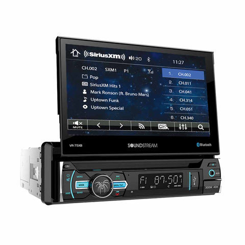 "Soundstream VR-75XB, 1-DIN AptiX Source Unit, SXM Ready, w/ Bluetooth, & 7"" LCD"