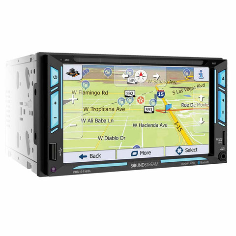 "Soundstream VRN-64HBL, 2-DIN AptiX Source Unit w/ iGO GPS, PhoneLink, Bluetooth, & 6.2"" LCD, RGB Light Strips"