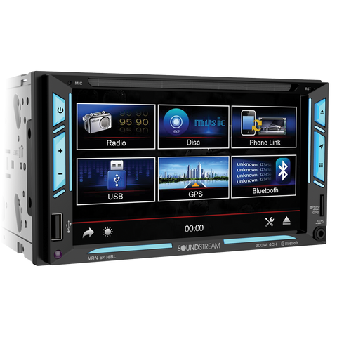 "Soundstream VR-64HBL, 2-DIN AptiX Source Unit w/ PhoneLink, Bluetooth, & 6.2"" LCD, RGB Light Strips"
