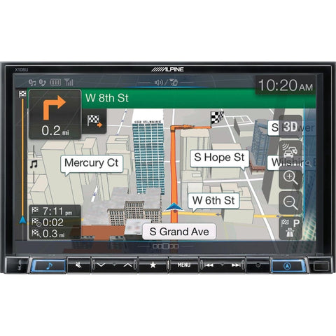 "Alpine X108U, Universial Restyle System DVD/CD player, Multimedia, Navigation with 8"" touchscreen and AM/FM tuner"
